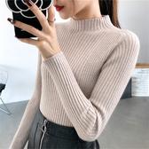 針織上衣 半高領套頭毛衣女2019秋冬新款修身針織衫內搭上衣長袖緊身打底衫