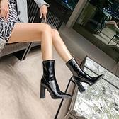 漆皮短靴女高跟粗跟百搭2020新款歐美秋冬季馬丁靴 YYP【快速出貨】