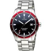 TITONI SEASCOPER海洋探索系列潛水機械錶-黑x紅圈/41mm 83985SRB-517