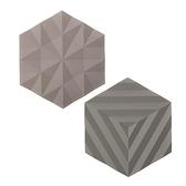 (組)丹麥ZONE FOLD系列幾何矽膠鍋墊-沙漠灰+泥灰