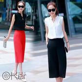 韓國立領寬褲兩件式套裝 O-Ker歐珂兒 LL89175(14869-1)-C