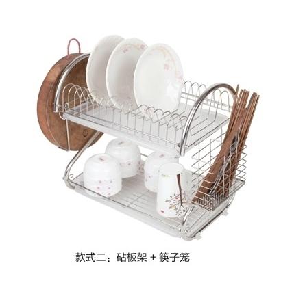 304不銹鋼 雙層碗架 碗碟架 廚房置物架【款式二:砧板架+筷子籠】