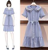 洋裝連身裙L-4XL中大尺碼素面禮服顯瘦法式復古裙子娃娃領遮肚連衣裙R30.9822