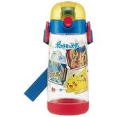 小禮堂 神奇寶貝 透明直飲式水壺附背帶 塑膠水瓶 兒童水壺 480ml (紅藍 格圖) 4973307-49767