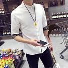 店慶優惠兩天-夏季正韓休閒白色7七分袖襯衫男士修身潮流學生襯衣中袖男裝寸衫