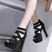 高跟鞋 舞台走秀鞋超高跟粗跟鞋 一字扣黑色高跟鞋女 降價兩天
