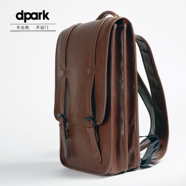 筆電電腦包雙肩後背包蘋果皮質時尚休閒包男女【步行者戶外生活館】