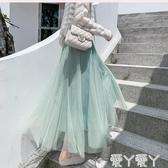 蓬蓬裙亮絲閃閃秋冬女網紗百褶裙半身裙大擺蓬蓬裙紗裙仙女裙中長款長裙新品
