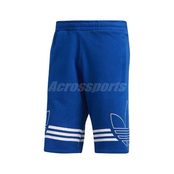 adidas 短褲 Originals Outline Shorts 藍 白 男款 輪廓 三葉草 三條線 足球 【PUMP306】 EJ8791