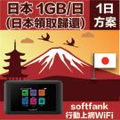 GLOBAL WiFi 亞洲行動上網分享器 日本 4G Softbank 1GB/日 (日本領取/歸還)