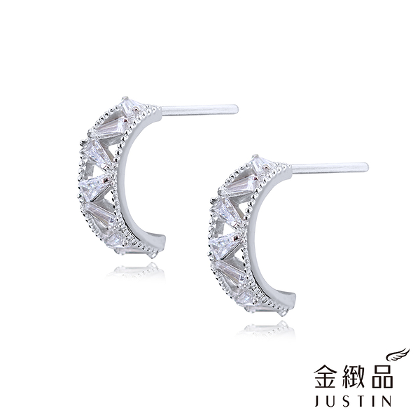 Justin金緻品 堅持 925純銀耳環 非鍍銀 抗過敏 閃亮 簡約 時尚