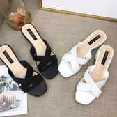 夾腳涼鞋 羅馬涼鞋 夏季新款韓版中跟女鞋交叉帶休閒鞋度假拖鞋《小師妹》sm2102