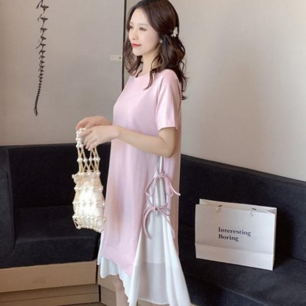 漂亮小媽咪 假二件洋裝【D3279】假兩件 雪紡 拼接 短袖 開叉 綁帶 孕婦裝 長版衣 孕婦洋裝