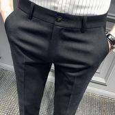 秋季西褲男修身褲子男韓版潮流九分男士休閒褲黑色百搭小腳