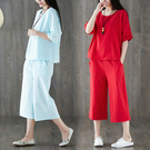 棉麻兩件套8267棉麻套裝女韓版寬松休閑時尚亞麻氣質兩件套夏MA110依佳衣