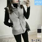 【V2169】shiny藍格子-舒適實搭.素面舖棉馬甲背心外套