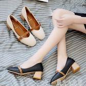 秋季新款韓版粗跟單鞋百搭軟妹小皮鞋復古方頭奶奶鞋女鞋子 錢夫人