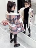 兒童外套 女童呢子外套加厚貂絨洋氣童裝年秋冬裝兒童網紅毛呢大衣 快速出貨
