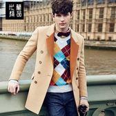 毛呢大衣-羊毛修身拼色翻領中長款男雙排扣外套5色72ar12【巴黎精品】