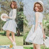 Qmigirl  韓版碎花露背收腰繫帶 無袖中長款雪紡連身裙 洋裝【WT360】