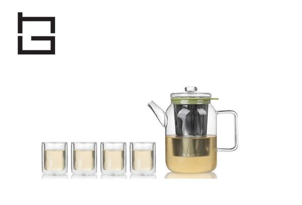 【HG】玻璃茶具花茶套裝(綠)/5件組 (現貨+預購)