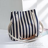 新款女包帆布水桶包條紋單肩包斜跨多用包韓版時尚純色媽咪手提包 秋季新品