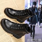 馬丁靴女英倫風年新款潮ins秋冬厚底瘦瘦短靴百搭春秋單靴子