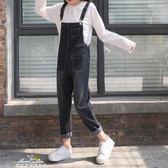 春裝女裝韓版百搭高腰寬鬆背帶褲顯瘦牛仔褲直筒褲學生九分褲長褲「夢娜麗莎精品館」