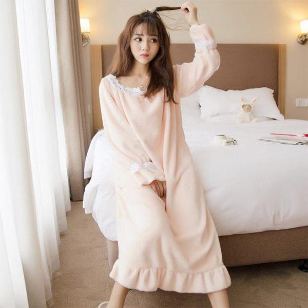 女士長袖秋天韓版可愛法蘭絨家居服睡裙珊瑚絨睡衣女加厚 優家小鋪