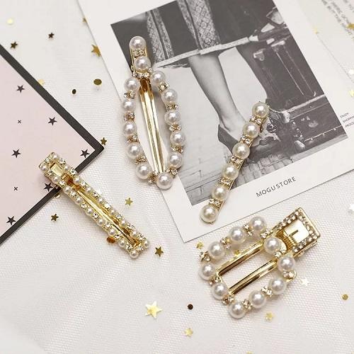 【NiNi Me】韓系髮飾 氣質甜美小香風珍珠水鑽髮夾 髮夾 H9463