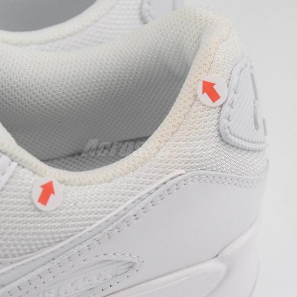 【US8-NG出清】Nike 休閒鞋 Air Max 90 白 全白 男鞋 氣墊 左腳鞋口黃 運動鞋【ACS】