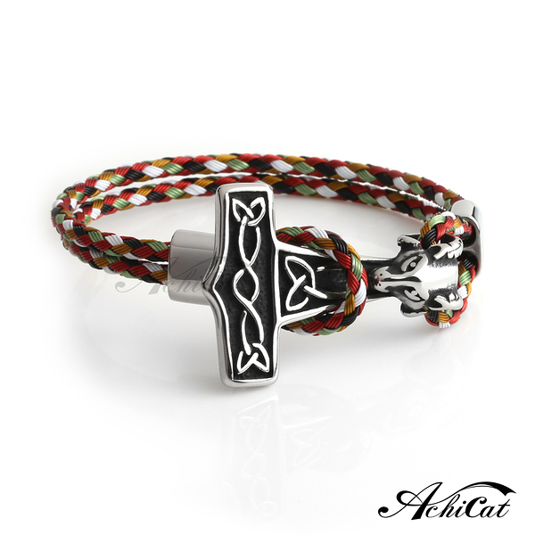 AchiCat白鋼手鍊編織刻字推薦 邪惡羔羊羊頭T字造型(多色款)單個價格H8027