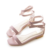 amai《Cinderella仙杜瑞拉》簡約繞踝一字平底涼鞋 粉