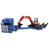 HY TRUCK華一 5012-25B機械運輸車+輕型挖掘機 工程合金車模型車 拖板車 聯結車(1:50)【楚崴玩具】