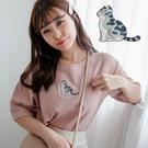 MIUSTAR 貓咪刺繡棉質上衣(共3色...