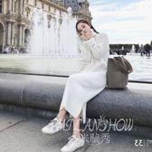 針織連身裙 冬季新款韓版內搭高領中長款過膝打底毛衣裙 米蘭shoe