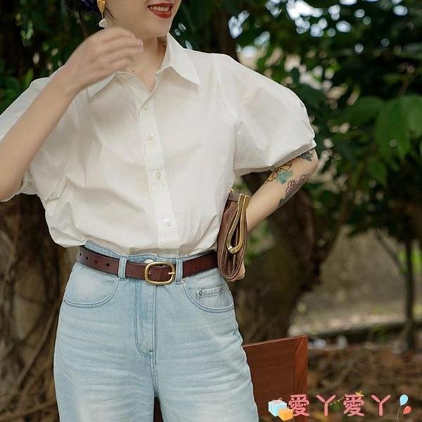 短袖襯衫 2021夏季新款氣質白色短袖襯衣女復古港味設計感小眾法式襯衫上衣 愛丫 新品