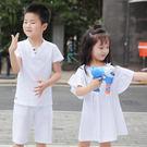 可琳質感純色棉麻短袖親子裝(小孩)