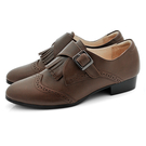 全真皮兩穿流蘇低跟孟克鞋-復舊咖啡色‧karine(MIT台灣製)