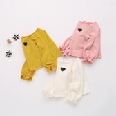 小童 女童棉質 泡泡袖口愛心刺繡衛衣 長袖上衣 長袖 女童 橘魔法 現貨 童裝