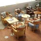 北歐辦公室接待奶茶店西餐咖啡廳桌椅組合簡約休閒卡座單人皮沙發  YDL
