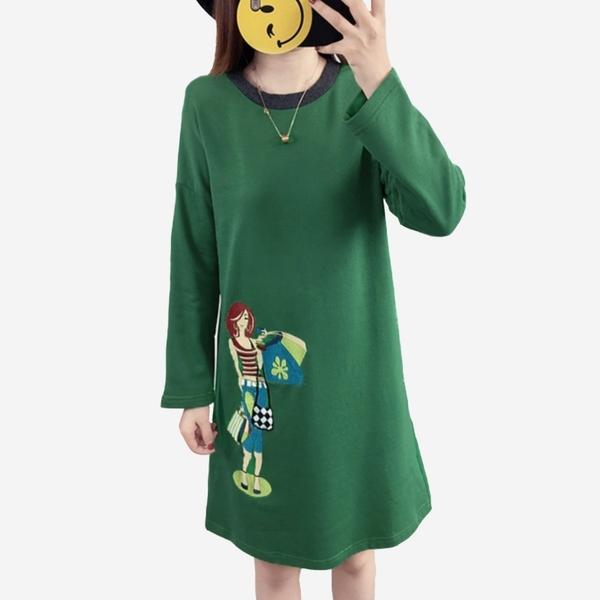 秋冬新款莫蘭迪色系圓領刺繡A字版長袖洋裝 (黑   灰藍  草軍綠  )三色售