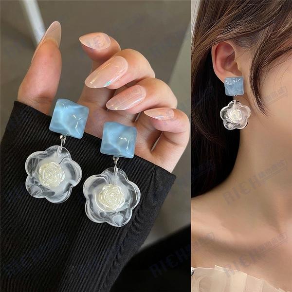 S925銀針韓國氣質簡約花朵耳釘女2021年新款潮高級感耳環耳夾