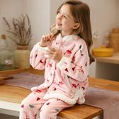 兒童珊瑚絨睡衣秋冬季女童法蘭絨寶寶小童女孩家居服加厚套裝大童