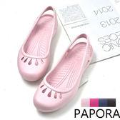 涼鞋.輕量防水Q彈舒適平底涼拖鞋雨鞋【KDR008】粉/桃/藍/咖(售完不補)