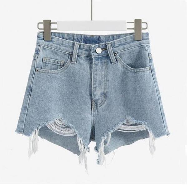 短褲 2021新款牛仔短褲女夏黑色高腰顯瘦熱褲白色三分破洞卷邊大碼半褲 全館免運