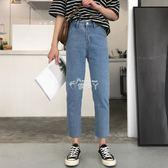 韓版學生百搭寬鬆九分褲牛仔褲女高腰直筒褲子潮 俏腳丫