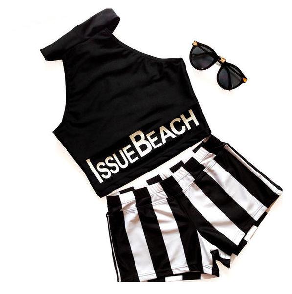 梨卡★現貨 - 二件式平口比基尼泳衣 - 低調性感夏日字母復古條紋平角泳裝C652