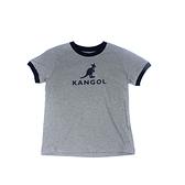 KANGOL 童裝 短袖T恤 灰色 深藍滾邊 袋鼠LOGO 6126500612 noG46