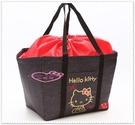 小花花日本精品♥ Hello Kitty 保冷袋 保冷提袋 購物籃 黑色側姿 42124207